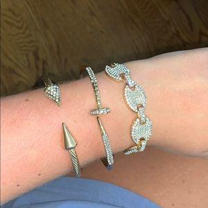 3 price gold bracelet set with rhinestone